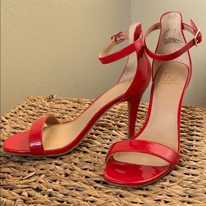 MATERIAL GIRL RED STRAP HEELS
